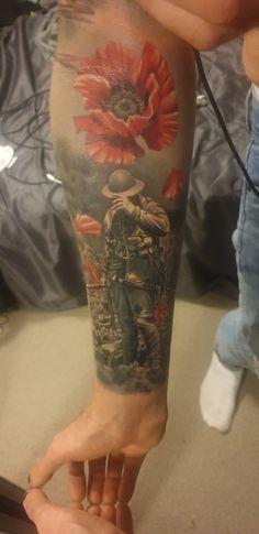 Army Tattoos, Military Tattoos, Tattoos Skull, Half Sleeve Tattoos For Guys, Half Sleeve Tattoos Designs, Japanese Sleeve Tattoos, Poppy Tattoo Men, Military Sleeve Tattoo, Wolf Tattoo Forearm