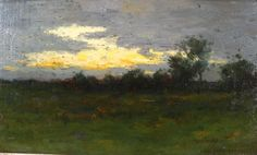 "Untitled evening landscape, Charles Warren Eaton, oil on board, 7 3/4 x 14"", private collection."