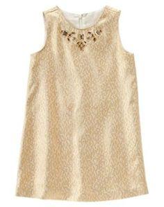 2dad9335b6383 NWT Gymboree Holiday Shine Brocade Gem Gold Dress SZ 5 6 10 Christmas  Wedding  dress