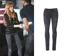 """Clary Fray (Katherine McNamara) wears Frame Denim Skinny Sateen Ripped Jeans in the color Grey in Shadowhunters Season 1 Episode 1 """"The Immortal Cup."""" #shadowhunters #freeform"""