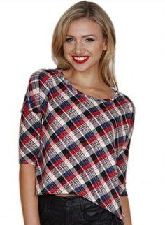 Multicolor Short Sleeve Plaid Crop Top #ustrendy #plaid #chic #nautical