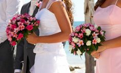 Bride & Bridesmaid bouquets with Frangipani's