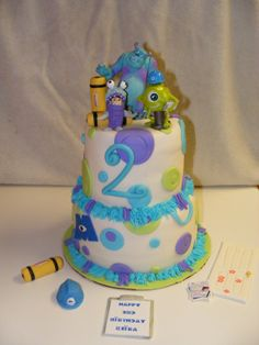 Monsters Inc birthday cake. Could do with just the color polka dots