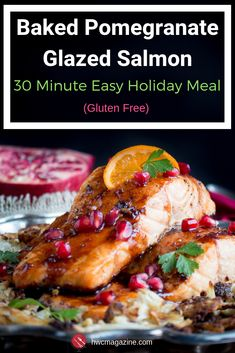 Baked Pomegranate Glazed Salmon Baked Pomegranate Glazed Salmon is a flaky and succulent fish recipe slathered in an easy sweet, savory, spicy pomegranate molasses orange glaze. Easy Fabulous Holiday Meal in under 30 Minutes. Salmon Recipes, Fish Recipes, Seafood Recipes, Cooking Recipes, Healthy Recipes, Savoury Recipes, Healthy Foods, Cooking Tips, Easy Holiday Recipes