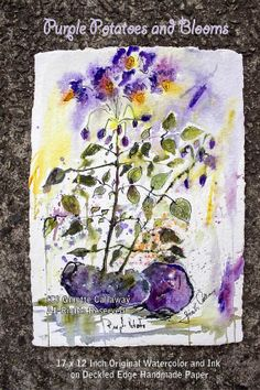 #Purple #Potatoes and #Blooms #Original #Watercolor by #Ginette Fine Art, $499.00