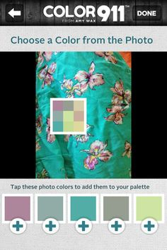 To remember the colors of something you like or want to match? Take a quick photo and add your colors to your palette to always have them with you. It's that easy! The best color app out there: Color911.com #Color911 #color #app