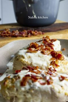 Parmesan Crusted Chicken with Bacon Cream Sauce Recipe Stove Top Chicken, Sauce For Chicken, Chicken Bacon, Chicken Stovetop, Chicken Recipes, Chicken Meals, Bacon Cream Sauce Recipe, Ketogenic Recipes, Keto Recipes