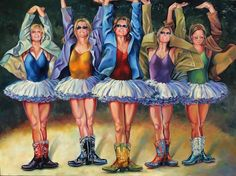Jill Pankey | Cinco Sisters Slightly Out of Sync | Oil on Canvas | 36 x 48 Russell Collection Fine Art Gallery :: Austin, Texas