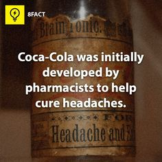 Next time I'll have coca-cola to cure my headache. Headache Remedies, Headache Relief, The More You Know, Good To Know, 8fact, Pharmacy Humor, Pharmacy Technician, Wtf Fun Facts, Random Facts