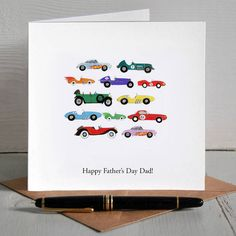 Vintage Cars Illustrated Personalised Father's Day Card #CreateABuzz