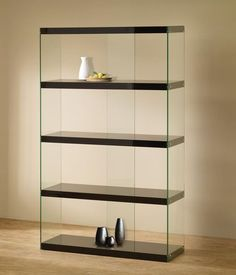 Shop the Illusion Bookcase at Eurway Modern Furniture - cool contemporary furniture at great prices including modern shelving Black Display Cabinet, Display Cabinet Lighting, Glass Display Shelves, Display Cabinets, Display Cases, Black Cabinet, Trophy Cabinets, Glass Cabinets, Curio Cabinets