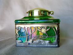 Art Nouveau Loetz Green Iridescent Glass Inkwell-
