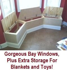 Gorgeous bay windows plus lots of extra storage - perfect for toys and blankets. #babyroomideas #baywindow #organizing