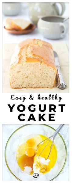 Healthy yogurt cake is part of Yogurt cake - Mix a few inexpensive ingredients in one bowl and bake the easiest yogurt cake ever, so good, moist and healthy No refined flour, no refined sugar and packed with yogurt Healthy Cake Recipes, Yogurt Recipes, Healthy Desserts, Easy Desserts, Cupcake Recipes, Dessert Simple, Cupcakes, Healthy Yogurt, Yogurt Cake