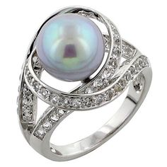 Buy Sterling Silver Pearl & White Topaz Orbit Ring, Pearl Lustre and... ($47) ❤ liked on Polyvore