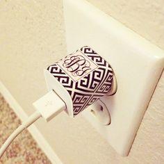 Free greek key monogram iPhone/iPad Mini charger stickers #monogram #printable