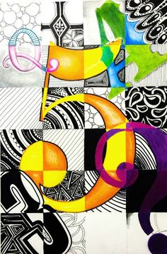 Charles Demuth 5 Inspired Typography Lettering Design Lesson - Create an original design using each of the 4 types of lettering styles -roman, poster, script,unusual Middle School Art Projects, Art School, Drawing Projects, Drawing Lessons, Intro To Art, Classe D'art, Graphic Design Lessons, 7th Grade Art, Atelier D Art