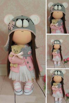 Tilda doll Textile doll Handmade doll Fabric doll Grey doll Soft doll Cloth doll Rag doll Interior doll Baby doll Nursery doll by Maria