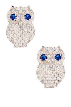 Pave Owl Stud Earrings by Bansri on @HauteLook