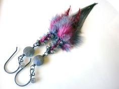 Labradorite Feather Oxidized Sterling Earrings by MelanieMiljan, 48.00