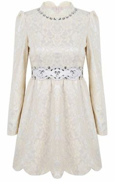 Apricot Long Sleeve Rhinestone Lace Embroidered Dress pictures