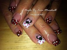 Minnie Mouse nail art. Thinking about getting my nails like this but pink instead of red for my princess party