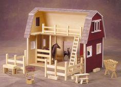 Horse Barn Unfinished Dollhouse Kit - Scaled for Breyer Horses by EndeavourToys on Etsy https://www.etsy.com/listing/209676693/horse-barn-unfinished-dollhouse-kit