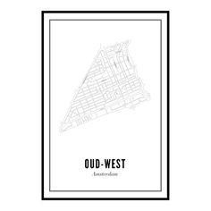 Een unieke Amsterdamse print van Oud-West aan de muur? De Clerqstraat, Bilderdijkstraat en uiteraard ook de Overtoom staan er allemaal op. De plattegrond van Ou