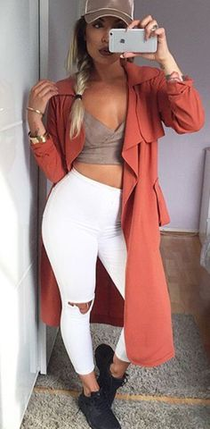 neutrals. white ripped leggings. cropped top. Street women fashion outfit clothing stylish apparel @roressclothes closet ideas