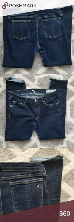 Rag & Bone ankle capri Awesome Rag & Bone ankle capri jeans 😍 size 30. Dark wash- gold stitching. Excellent condition! Comfy stretchy material.   Bundle for a discount - always fast shipping and packaged with care!! rag & bone Jeans Ankle & Cropped