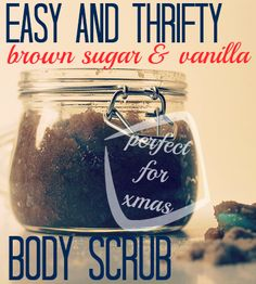 Homemade brown sugar and vanilla body scrub - a beautiful and deliciously scented Christmas gift idea.