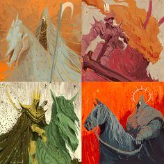 Apocalypse Art, Horsemen Of The Apocalypse, Fantasy Character Design, Character Art, Les Quatre Cavaliers, Dark Drawings, Ange Demon, Fanart, Monster Art