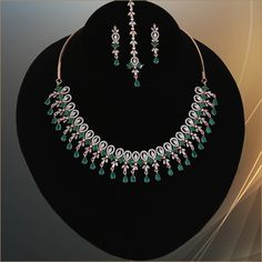 Indian Bollywood style AD necklace, earrings and Tikka makes makes the perfect gifts for bridesmaids,Wife, Mother, Sister or Gift for Loved ones. Wedding Jewellery Designs, Wedding Jewelry, American Diamond Jewellery, Diamond Jewelry, Jewelry Art, Fashion Jewelry, Gold Jewelry, Emerald Green Stone, Indian Jewelry Sets