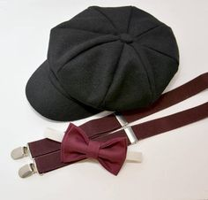 28fef74ab12 Bow Tie Suspenders Newsboy Black Cap Hat   Dark Wine Burgundy Bow Tie   Dark  Wine suspenders   Kids Baby Page Boy Set   Newborn - 10Years