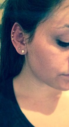 triple cartilage and double lobe piercing