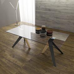 Tavolo con struttura in metallo e legno Argon - struttura antracite e legno tinto naturale