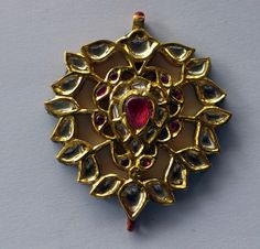antique Kundan gold polki rubies emeralds set pendant necklace jewelry -329-60 via Etsy