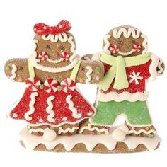 "RAZ Boy and Girl Gingerbread Claydough Christmas Decoration  Multicolored Made of Claydough Measures 3.5"" X 5"" X 1"""
