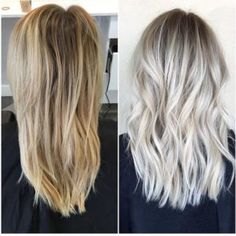 Icy Blonde with Shadowed Roots Hair Color
