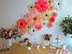 Festive decorations with paper flowers