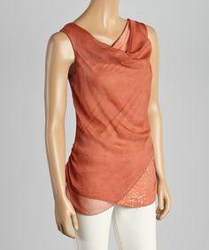 Look what I found on #zulily! Rust Sequin Silk-Blend Layered Tank #zulilyfinds