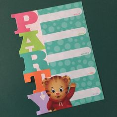 Made my own Daniel Tiger birthday party invitations! Just picked up generic ones on clearance at Target for $1.78. Then printed out Daniel Tiger graphics and glued on.
