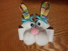 Girls Easter Bunny Hair Bow Clippy,  Easter Bunny Pin. $5.25, via Etsy.