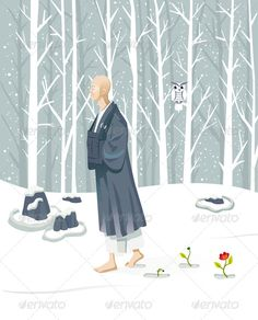 Zen Monk Walking #GraphicRiver Zen monk walking slowly. He is practicing walking meditation (Kinhin). He is in a winter landscape covered with snow ,but their attitude is contemplative and serene. The folder includes: • Vector files (layered) such as a a illustrator CS5 file and a EPS10 file. • A high-resolution JPG. • A PDF file. Created: 30October13 GraphicsFilesIncluded: JPGImage #VectorEPS #AIIllustrator Layered: Yes MinimumAdobeCSVersion: CS Tags: asia #awarenes...
