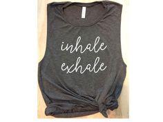 inhale exhale yoga tank gray / women's tank / women's