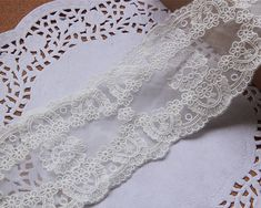 White wedding lace trimflowers embroidered laceCotton by POPOLace