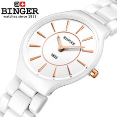 Switzerland Binger ceramic quartz watch women fashion lovers style luxury brand Wristwatches 300M Water Resistance B8006-5 #>=#>=#>=#>=#> Click on the pin to check out discount price, color, size, shipping, etc. Save and like it!