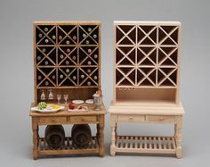 Miniature wine rack in 1/12 scale - before and after