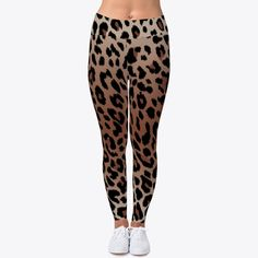M 12//14 Ladies summer brown loose fit Leopard Trousers Calzedonia