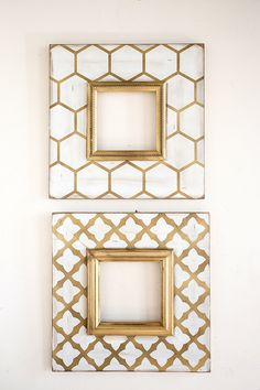 Metallic Gold Frame Set by deltagirlframes on Etsy Quatrefoil Pattern, Honeycomb Pattern, Home Confort, Delta Girl, Picture Frames, Gallery Wall, Frame Gallery, Wall Decor, Bedroom Decor